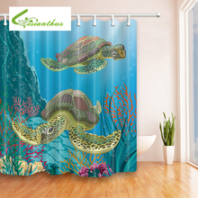 Cartoon Sea Turtle Waterproof Shower Curtain Mermaid Home Bathroom Curtains with 12 Hooks Polyester Fabric Bath Curtain