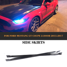 Carbon fiber side body kit skirts apron for Ford Mustang Coupe 2 Door 2015 2016 2017 V6 V8 Non-Shelby GT350 2PCS(China)