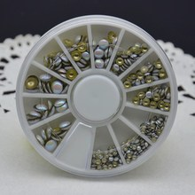 Mix Size Cell Phone Round Metal 3D Tips Nail Art Decoration Flat Back Bead Tool Rivet Stud Glitter Semicircle Wheel DIY Manicure
