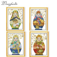 Russian doll cross stitch kit cartoon 14ct 11ct count print canvas stitching embroidery DIY handmade needlework