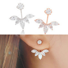 2015 Korean Version Of The New Fashion Crystal Silver Leaf Earrings Female High Quality Jewelry Factory Direct Wholesale