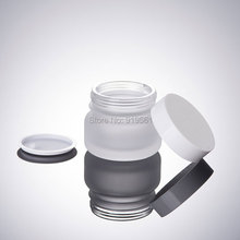 50Pcs New design 50G frosted glass bottle eye cream jar with white lid empty glass jars Cosmetic Empty Jar