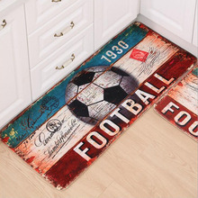Bath Mat Coral Velvet Memory Foam Non-Slip Bathroom Carpet Retro Football/ Basketball Printed Living Room Rug(China)