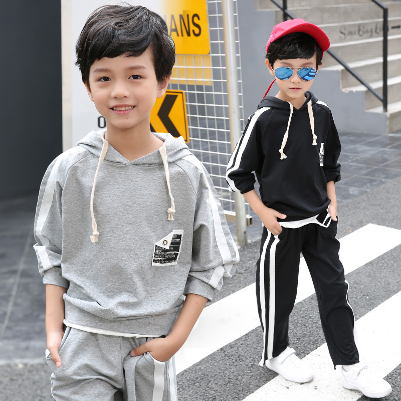 Boys 2017 autumn new style childrens long-sleeved cloth hooded sweater plus trousers two-piece sets 5 6 7 8 9 10 11 12 year old<br>