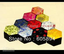 Chinese Small Beautiful Ring Box Earring Jewellery Box Silk Brocade Gift Packaging Boxes size 6x6x3.5 cm 10pcs/lot mix color Fre