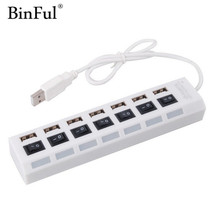 BinFul Multi 7 Ports High Speed USB Hub 2.0 480Mbps Hub On/Off Switch Portable USB Splitter Peripherals Accessories For Computer
