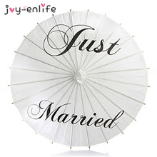 JOY-ENLIFE 3Styles Just Married/Mr&Mrs White/Ivory Paper Parasols Wedding Pics DIY Wedding Paper Parasol Umbrella Party Supplies