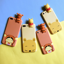 3D Tigger and Winnie Bear Dolls phone Cases For iphone 6 6s 6plus 7 7Plus Scrub soft silicon case back cover for iphone 6(China)