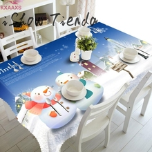 Merry Christmas Rectangular Printed PVC Cartoon Tablecloth 90*150cm Wholesale Drop Shipping(China)