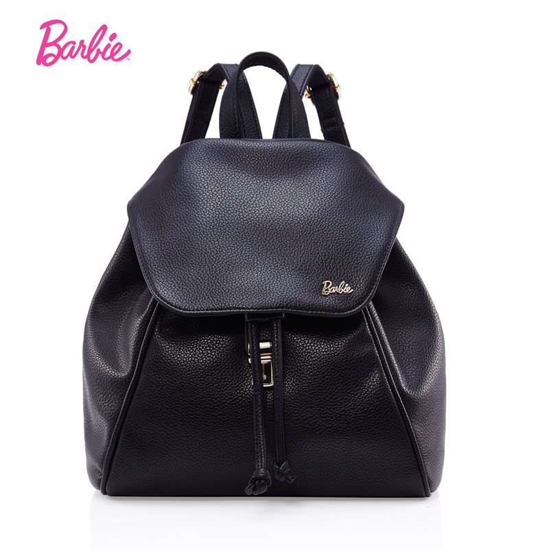 Barbie Women BackPacks soft black leather girl bags simple style Fashionable Trend Brief with Large Capacity packbags women<br>