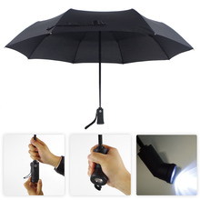 Male's Business Umbrella LED flashlight Umbrella Fully Automatic Sun Rain Parasol Folding Inverted Reverse Sunscreen Umbrella(China)