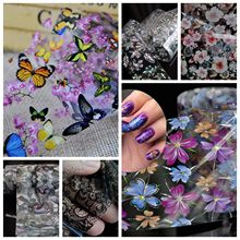 1PC Gradient Green Marble Pattern Butterfly Laser Leaf Flowers Black Lace Transfer Foil Nail Decal Stickers for Nails Decoration