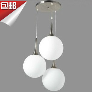 FREE SHIPPING EMS 3 HEAD Modern brief white glass ball pendant light restaurant lamp living room lights stair Pendant lamp<br>