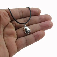 "[NO Minimum]2017 New Women Men Jewelry Vintage Silver Tone Small Skull 0.6""X0.4"" Pendant Short Necklace 4421 Free Shipping"