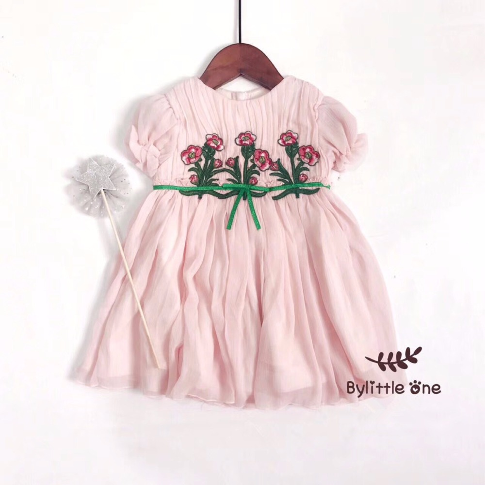 2017 Summer Baby Girls Dress Embroidery Floral Pattern Solid Pink Colour Girls Dresses Chiffon Princess Toddler Baby Girls Dress<br>