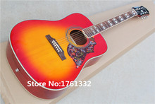 Factory custom 41 inch 20 frets rounded corner cherry sunburst  acoustic guitar with hummingbird pickguard,can be changed
