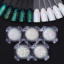 Pixel Effect Green Glitter Sequins Mermaid Iridescent Multi-size Nail Sparkle Glitters Tips Nail Art Decoration UV Gel Polish