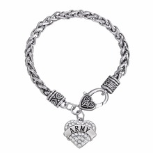 Lemegeton ARMY Crystal Heart Charm Bracelet Military Jewelry for man and woman(China)
