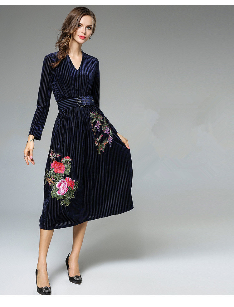 Heavy Embroidery Women Dress High-End Fashion Celebrity-Inspired Dresses Long Sleeve Autumn Robe Belted Vintage Style Vestidos (5)