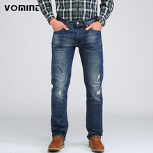 VOMINT NEW 2017  Men's Casual Elasticity Jeans Slim Regular Fit Nice Cutting Perfect Details Plus Size Distressed pants S6CJ071