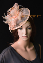 NEW 31 colours Nude pink sinamay fascinator Feather hat for Kentucky derby,wedding,church .FREE SHIPPING.