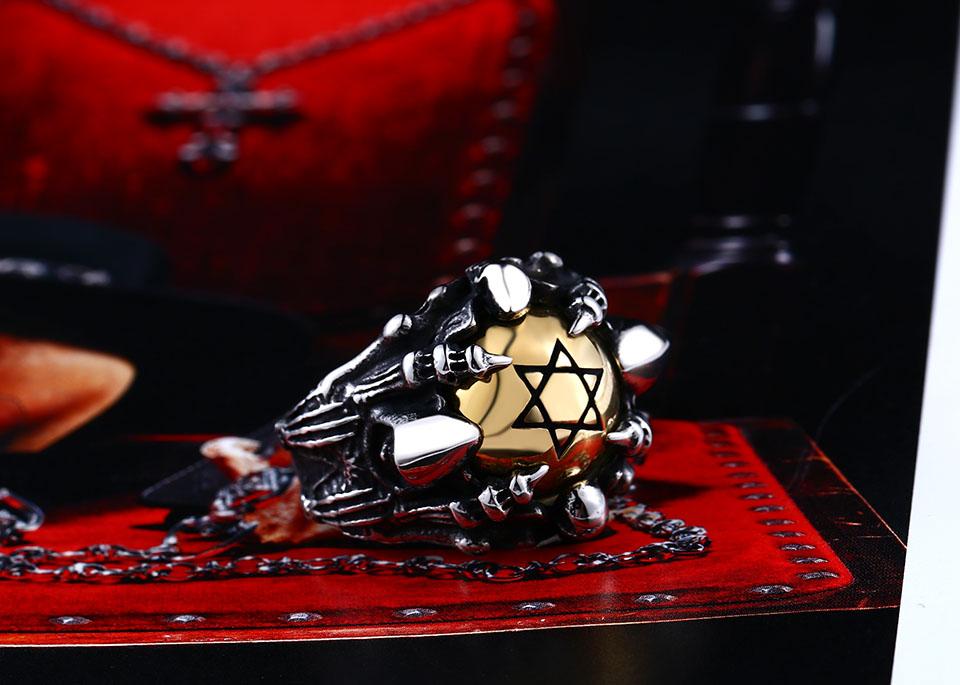 แหวนโคตรเท่ห์ Code 025 แหวนดาว6แฉกอุ้งมือมังกร สแตนเลส8