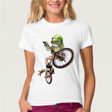 Newest 2016 Funny Cool Crazy Frog Riding Bicycle Printed T-Shirt Summer Animal T Shirt Women/Girl Novelty White Tee Shirts Tops(China)