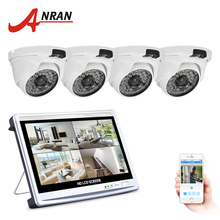 ANRAN 12 Inch LCD Screen 4CH 1080P AHD DVR CCTV Kit With 4 Pcs Infrared Indoor D Security Video Surveillance Camera System