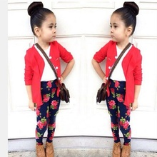2017 spring autumn style lady clothing set flower print leggings children suit top quality baby set retail BCS192(China)