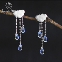 Lotus Fun Romantic Cloud Raindrops Hanging Drop Earring Blue Crystal 925 Sterling Silver Earrings Fine Jewelry Gift For Women(China)