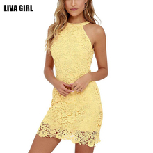 Buy Fashion Dress 2017 Womens Elegant Wedding Party Sexy Night Club Halter Neck Sleeveless Sheath Bodycon Lace Dress Short