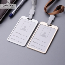 Top grade Magnesium Alloy Card holder Vertical Business Work Badge Holder Employee ID Card with Lanyard can be printed LOGO(China)