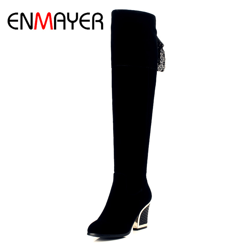 ENMAYER Woman Winter Over the Knee Solid Square Heel High Heels Boots Ladies Zipper Flock Warm Plush High Quality Cacual Shoes<br>