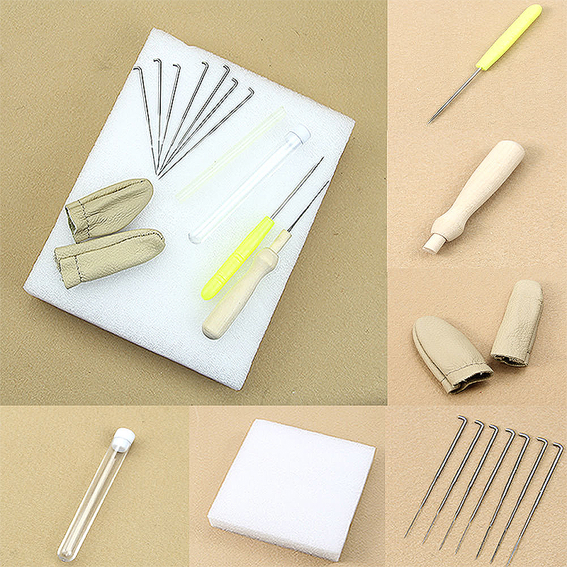 1Set Wool Felt Tool Kit Wooden Felting Needle Tool + Foam Pad  + Strip and Other Felting Accessories For DIY Craft