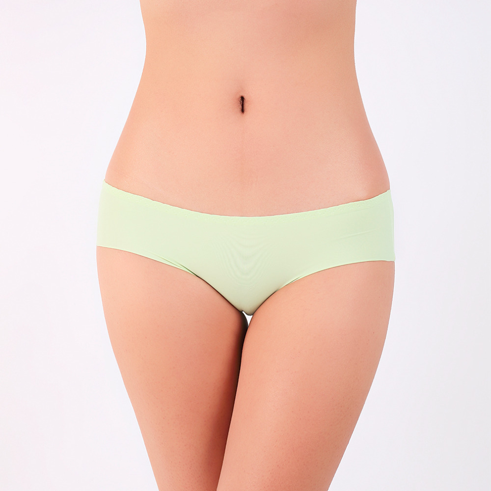 HW5Pcs/ Set Sexy Pure Color Icy No-Trace Chip Lady Slim Waist Briefs Best price<br>