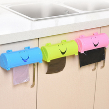 5 Color Plastic Home Eco-friendly Smile Face Garbage Bags Storage Box Kitchen Paste Type Plastic Container(China)