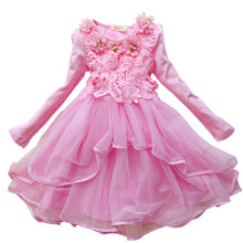 2-14 Years Old Girls Clothes New Fashion 2016 Long Sleeved Lace Dress Girl Flowers Pink Children Princess Party Dresses 5 Colors