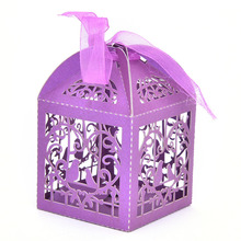 50pcs/pack Cartoon Bird Love Heart Laser Cut Gift Candy Boxes Wedding Party Favor With Ribbon
