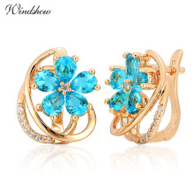 New Five Petal Flower Paved Pear Light Blue Crystals Yellow Gold Color D Huggie Hoop Earrings for Women Jewelry Pendientes Aros