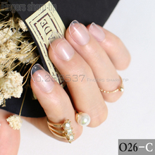 24pcs new product hot sales candy oval decorative fake nails short round section transparent clear comfortable false nails R26-C