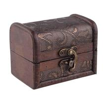 wooden gift box Vintage Metal Lock Jewelry Treasure Chest Case Manual Pearl Necklace Bracelet Storage Organizer(China)