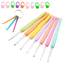 7 Pcs Crochet Hooks Set Crafts Knitting Needles Soft Rubber TPR Handle Grip with PVC Case Accessories TB Sale(China)