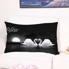 Cute Love White Swan Animal Printed Cushion Cover Cotton Pillow Case for Sofa Bed Home Wedding Decoration 40*60cm(China)