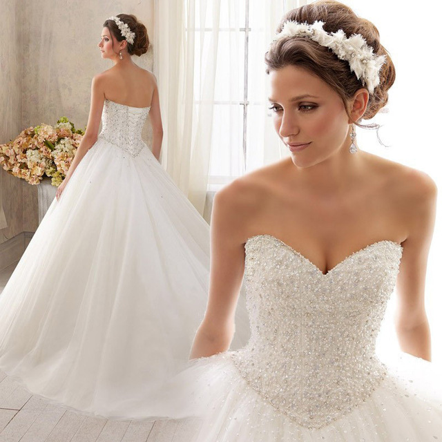 Robe de mariage 2017 Sweetheart Neck Beads Ball Gown Wedding dresses Plus Size Sleeveless Backless Bridal Gown Vestidos de novia
