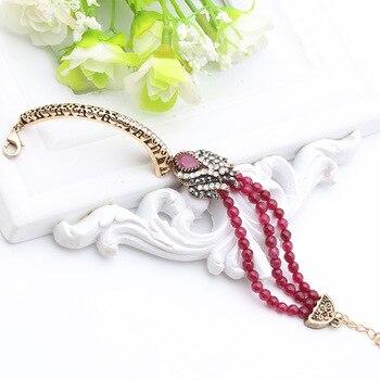 Antique Turkish Women Bead Link Bracelets Tulip Resin Cuff Retro Gold Plate Vintage Decorative Pattern Bridal Bracelets Jewelry