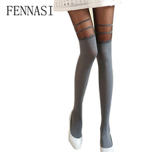 Buy FENNASI Japanese Sweets Small Women Tights Japan kawaii Gray Stockings Warm Tights Wavy Stripes Female Sexy Pantyhose Velvet