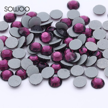 1440pcs/lot Eco-friendly lead free Lower 90PPM Hot Fix Rhinestone Round Amethyst Color Iron on Rhinestone baby studs(China)