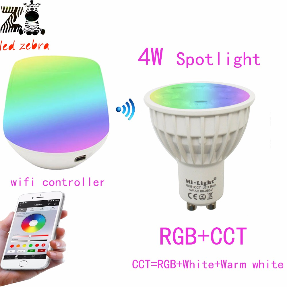 mi.light 2.4G GU10 4w RGB CCT dimmable led bulb lamp+mi.light wifi ibox wireless led controller with iOS Android APP <br><br>Aliexpress