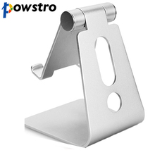 Powstro Aluminum Metal Mobile Phone Tablet Desk Holder Stand for iPhone Samsung Cellphone Desk Stand For iPad iPhone Holder(China)