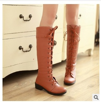 Lady big size11 12velvet Lace-up Motorcycle high heeled boots women round toe knee boot winter autumn black/white yellow leather<br>